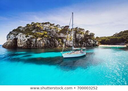 Güzel yelkencilik tekne kıyı dağ deniz Stok fotoğraf © grafvision