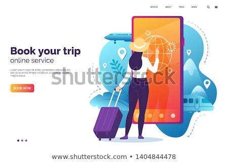 online · előre · bejelentkezés · szolgáltatások · vektor · internet · foglalás - stock fotó © tele52