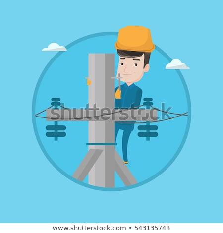 電気 電源 ポール ポップアート レトロな 図面 ストックフォト © rogistok