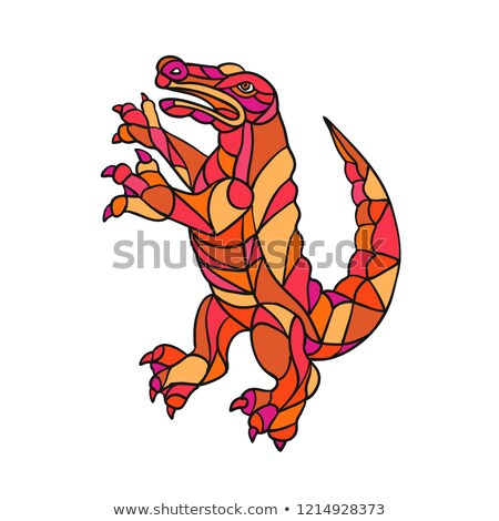 Crocodile Prancing Mosaic Color Stock photo © patrimonio