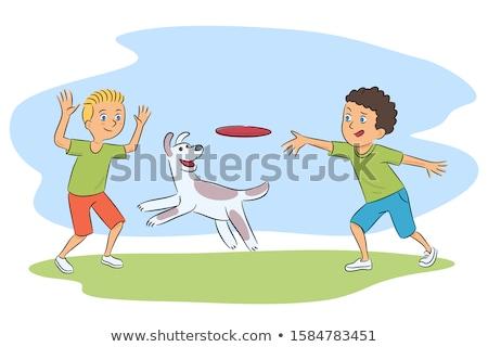 Cartoon boy throwing a flying disc Stock photo © bennerdesign