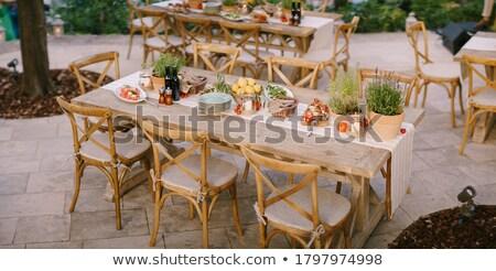 Vág görögdinnye fa asztal szék fa nyár Stock fotó © galitskaya