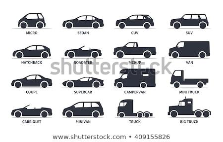 Spor araba siyah simgeler siluet beyaz araç Stok fotoğraf © YuriSchmidt