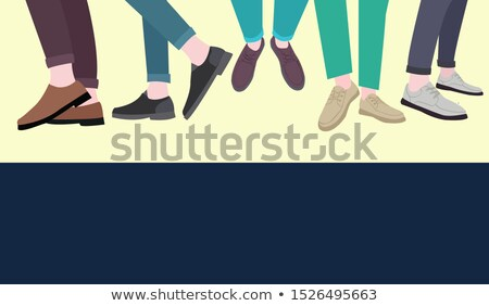 set of five pairs of male legs in the shoes stylish footwear Stock photo © Margolana