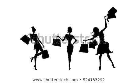 Stockfoto: Winkelen · vrouw · winkel · silhouet · zwart · wit · vrienden