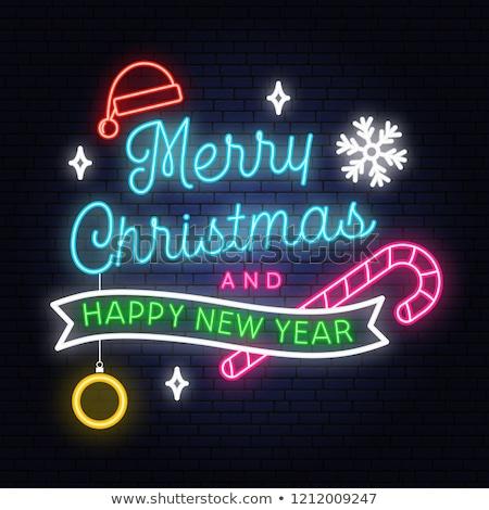 Vidám karácsony neon keret szett izzó Stock fotó © Voysla