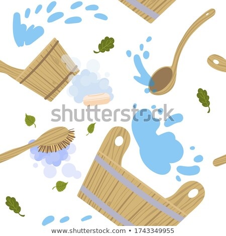 Fából készült merőkanál szauna fürdőkád izolált fehér Stock fotó © konturvid