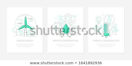środowiska ochrona line projektu stylu banery Zdjęcia stock © Decorwithme