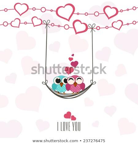Walentynki sowy miłości huśtawka projektu tle Zdjęcia stock © Imaagio