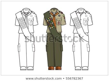 Menino escoteiro uniforme isolado ilustração sorrir Foto stock © bluering