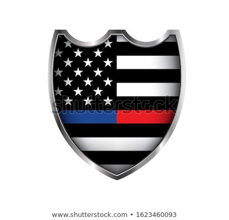 Policji strażak amerykańską flagę godło ilustracja wektora Zdjęcia stock © enterlinedesign