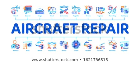 Aircraft Repair Tool Minimal Infographic Banner Vector Stock photo © pikepicture