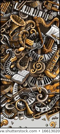 Klasszikus zene kézzel rajzolt firka szalag rajz Stock fotó © balabolka