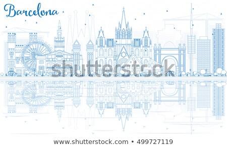 Barcelona linha do horizonte azul edifícios reflexões Foto stock © ShustrikS