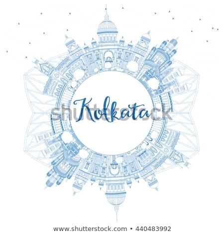 Outline Kolkata Skyline with Blue Landmarks and Copy Space.  Stock photo © ShustrikS