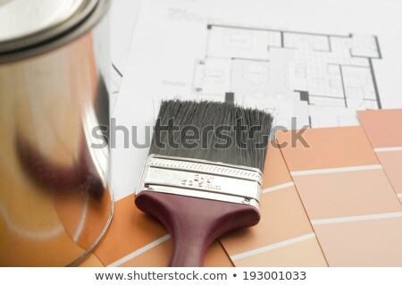 Prepares the architectural floorplan for a residence stock photo © johnkwan