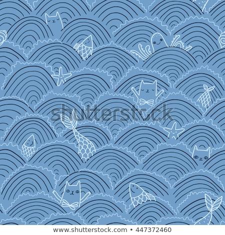 Naadloos zeemeermin zee dier cartoon witte Stockfoto © bluering