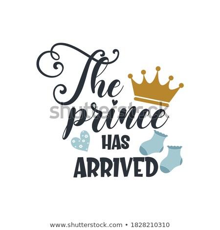 Prince baby doccia testo corona tipografia Foto d'archivio © Zsuskaa