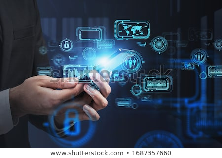 Hand using smartphone with cloud technology concept Stock photo © ra2studio