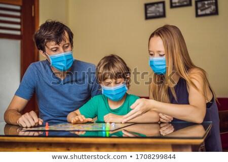 幸せな家族 演奏 ホーム 滞在 感染 ストックフォト © galitskaya