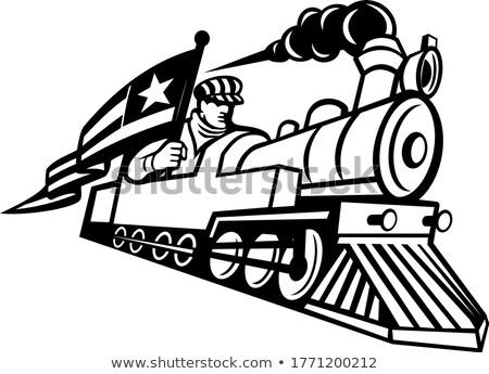 Americano treno ingegnere guida mascotte Foto d'archivio © patrimonio