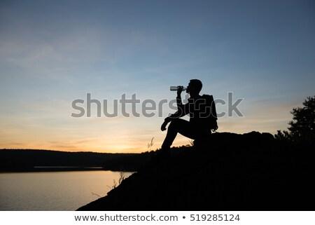 закат жажда красивой молодые женщину Сток-фото © cardmaverick2