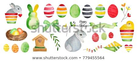 白 ウサギ 鶏 装飾された ストックフォト © borna_mir