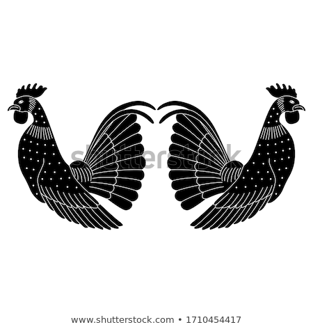 vector silhouette cock on white background Stock photo © basel101658