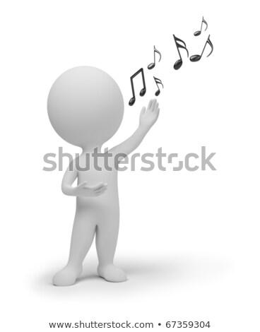 3D klein mensen zanger zingen microfoon Stockfoto © AnatolyM