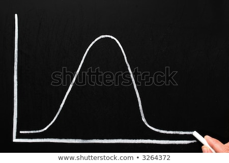 Drawing a normal distribution bell curve on a chalkboard. Stock photo © latent