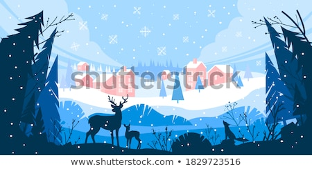 kuş · ağaç · kar · kapalı · ev - stok fotoğraf © BibiDesign