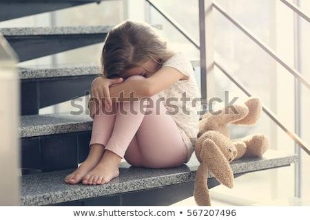lágrimas · cute · llorando · cara - foto stock © iodrakon