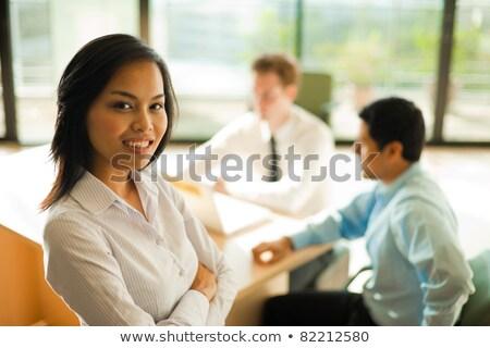 boldog · üzleti · csapat · ázsiai · férfi · kaukázusi · nő - stock fotó © Qingwa