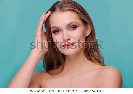 Pompás hölgy pózol topless kamerába hosszú haj Stock fotó © stryjek