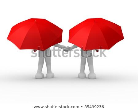3d People - Human Character Under An Umbrella 3d Render Illustr Stock fotó © CoraMax