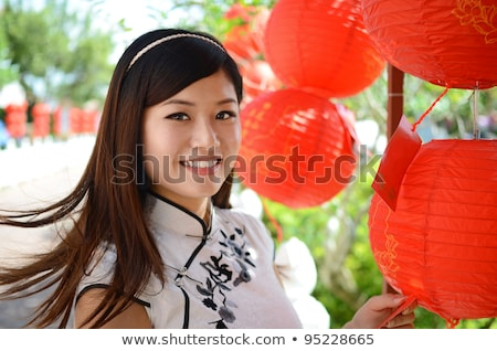 Stock photo: chinese woman holding red paper lantern