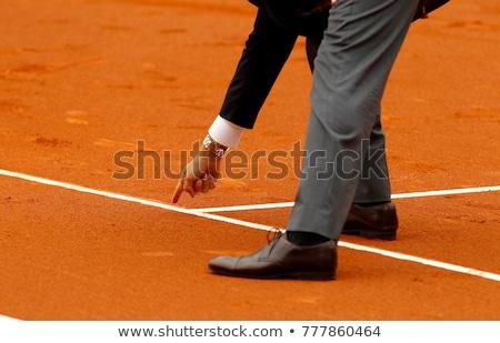 テニス · 笑みを浮かべて · 裁判所 · を見て · リラックス - ストックフォト © photography33