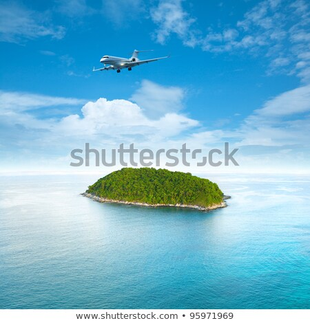 Private jet plane is over a tropical island. Luxury style living Stock photo © moses