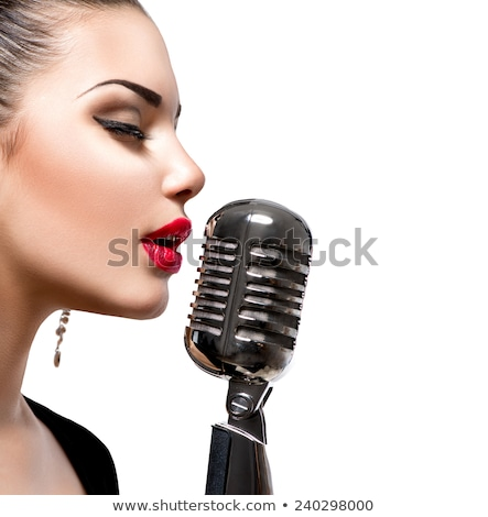 woman in red with microphone stock photo © stryjek