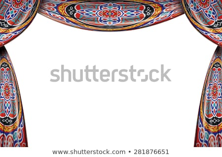Set color fabric curtain with ornament Stock photo © Ecelop
