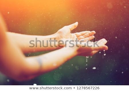 Nő napfelkelte cseppek víz tengerpart kezek Stock fotó © Paha_L