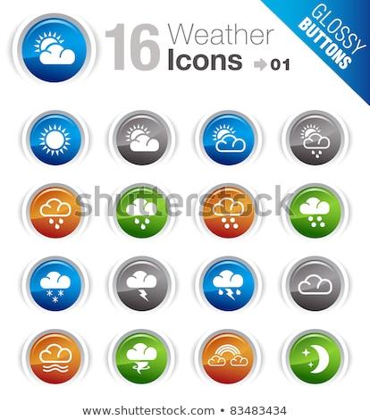 set of blue glossy weather icons stock photo © annavolkova