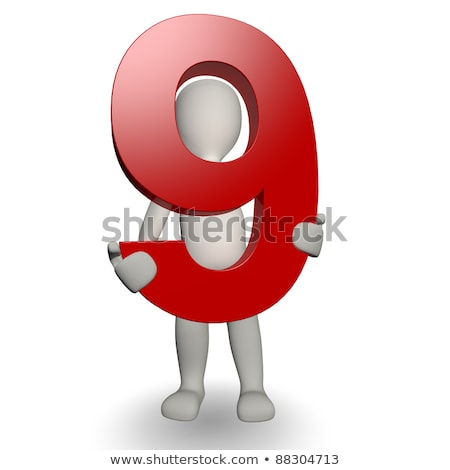 Karakter aantal negen 3d render Stockfoto © Giashpee