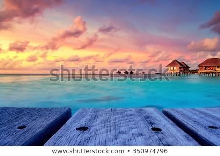Crepúsculo pôr do sol praia longa exposição formação rochosa oceano Foto stock © 3523studio