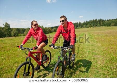 Equitação mountain bike primavera prado Foto stock © CandyboxPhoto