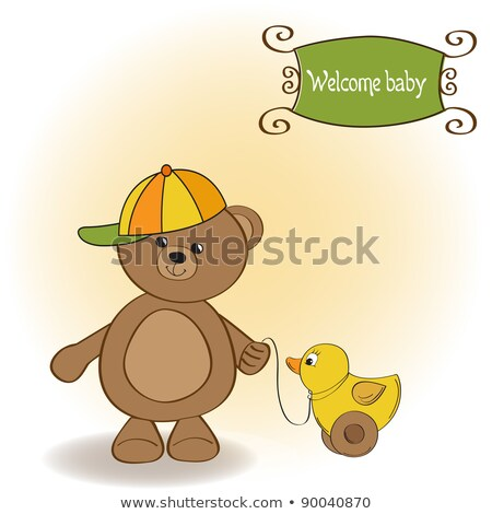 welcome baby card with boy teddy bear and his duck stock photo © balasoiu