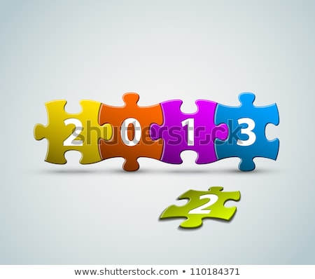 new year 2013 card made from colorful puzzle pieces stock photo © orson