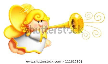 Whimsical Cartoon Angel Blowing Horn Stock photo © komodoempire