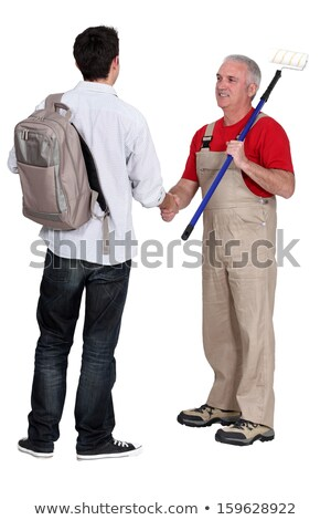 Peintre nouvelle apprenti hommes handshake équipe Photo stock © photography33