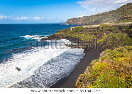Plaj siyah kahverengi kum su su Stok fotoğraf © lunamarina